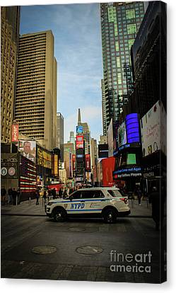 Ny Police Department Canvas Print - Nypd In Times Square by Victory Designs