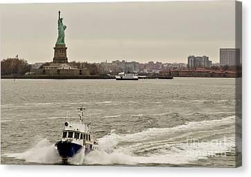 Ny Police Department Canvas Print - Nypd Motor Boat. by Elena Perelman