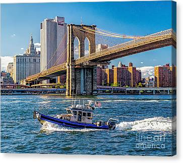 Nypd On East River Canvas Print by Nick Zelinsky