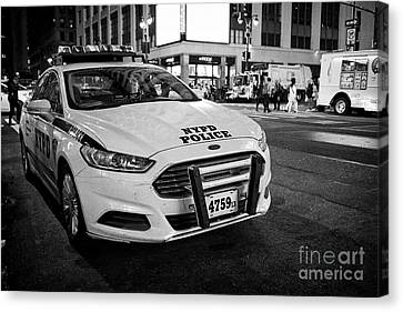nypd police patrol car at night New York City USA Canvas Print