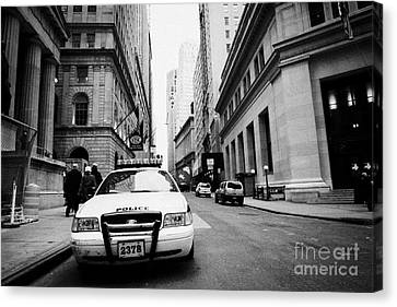 Nypd Police Patrol Car Parked In Wall Street Downtown New York City Canvas Print by Joe Fox