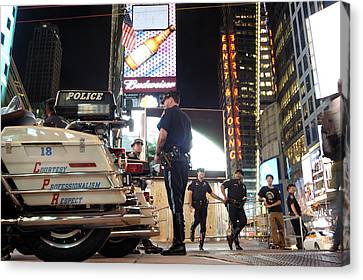 New York Cops Canvas Print - Nypd Times Square by Robert Lacy