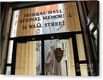 Nyse And Gw Statue View From Inside Federal Hall Building  Canvas Print