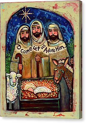 O Come Let Us Adore Him Shepherds Canvas Print by Jen Norton