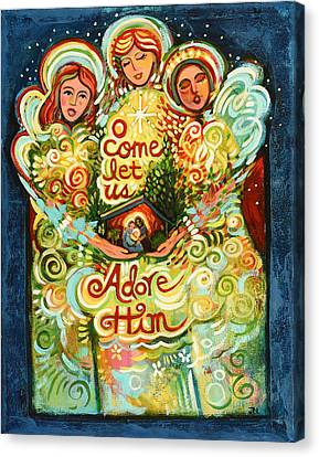 O Come Let Us Adore Him With Angels Canvas Print by Jen Norton
