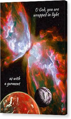 Canvas Print featuring the digital art O God, You Are Wrapped In Light by Chuck Mountain