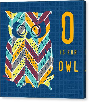 O Is For Owl Canvas Print by Brandi Fitzgerald