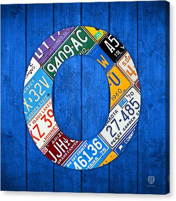 O License Plate Letter Art Blue Background Canvas Print by Design Turnpike