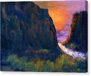 Canvas Print featuring the painting Oak Creek Canyon by Gail Kirtz