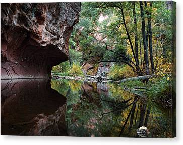 Oak Creek Canyon Reflections Canvas Print by Dave Dilli