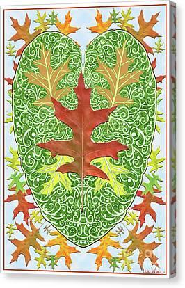 Canvas Print featuring the digital art Oak Leaf In A Heart by Lise Winne