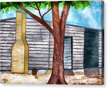 Oak Tree By The Cracker Cabin Canvas Print by D Hackett