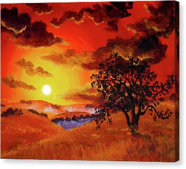 Oak Tree In Red Sunset Canvas Print