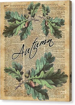 Sepia Vintage Farmhouse Canvas Print - Oak Tree Leaves And Acorns, Autumn Dictionary Art by Anna Wilkon