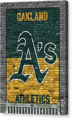 Oakland Athletics Brick Wall Canvas Print by Joe Hamilton