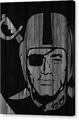 Oakland Raiders Wood Fence Canvas Print by Joe Hamilton