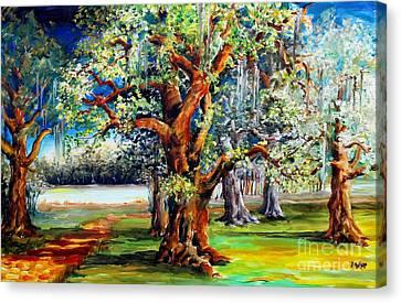 Oaks Along The Bayou Canvas Print by Diane Millsap