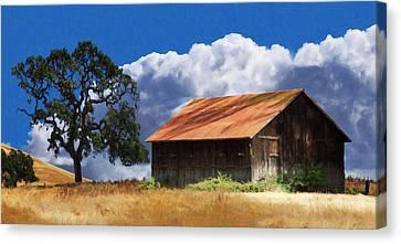 Barn Storm Canvas Print - Oaks Barn by Stan Angel