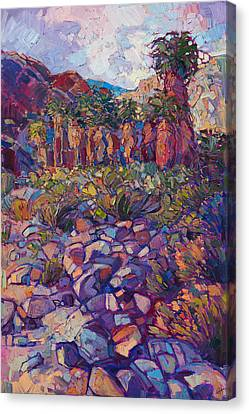 Canvas Print featuring the painting Oasis Boulders by Erin Hanson