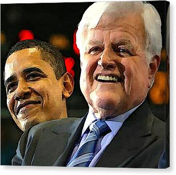 Obama And Kennedy Canvas Print by Gabe Art Inc
