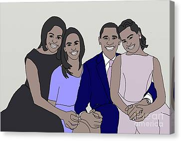 Obama Family Neutral Background Canvas Print