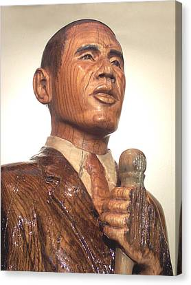 Obama In A Red Oak Log - Up Close Canvas Print by Robert Crowell