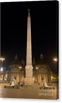 Obelisco Flaminio And Twin Churches By Night Canvas Print by Fabrizio Ruggeri