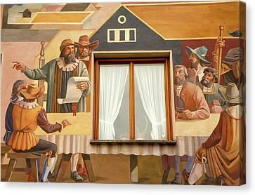 Canvas Print featuring the photograph Oberammergau Frescoe by KG Thienemann