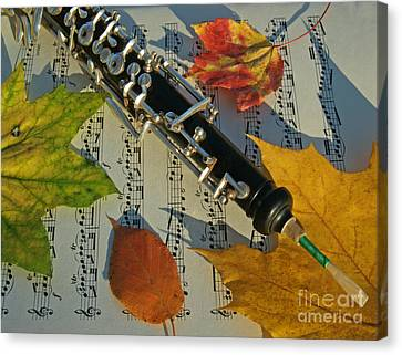 Oboe And Sheet Music On Autumn Afternoon Canvas Print by Anna Lisa Yoder