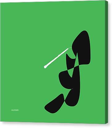 Oboe In Green Canvas Print by David Bridburg