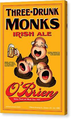 O'brien Three Drunk Monks Canvas Print by John OBrien