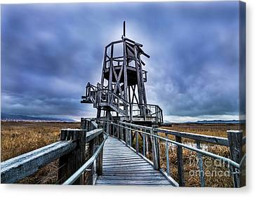 Canvas Print featuring the photograph Observation Tower - Great Salt Lake Shorelands Preserve by Gary Whitton