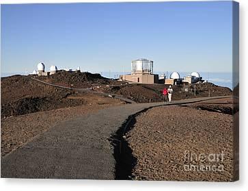 Observatories On Haleakala Canvas Print by Andy Smy