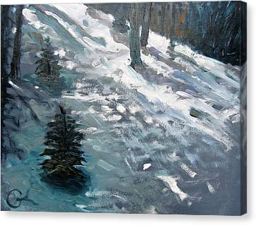 Canvas Print featuring the painting Observing Snow by Gary Coleman