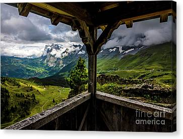 Observing The Grindelwald Valley And Swiss Alps Canvas Print by Gary Whitton