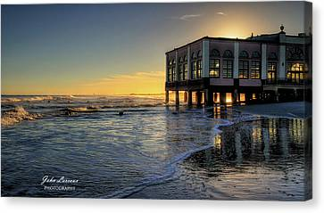 Oc Music Pier Sunset Canvas Print by John Loreaux