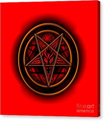 Occult Magick Symbol On Red By Pierre Blanchard Canvas Print by Pierre Blanchard