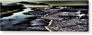 Canvas Print featuring the photograph Ocean Beach Night by Steve Siri