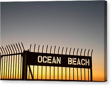 Ocean Beach Pier Gate Canvas Print by Christopher Woods