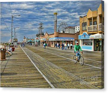 Ocean City Boardwalk Canvas Print by Edward Sobuta