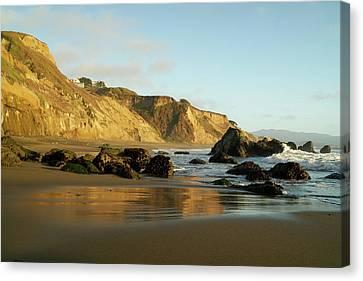 Ocean Cliff Reflections Canvas Print