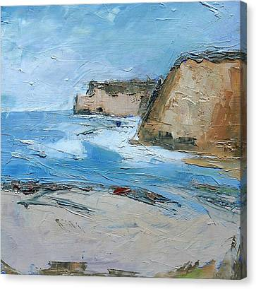 Canvas Print featuring the painting Ocean Cliffs by Gary Coleman