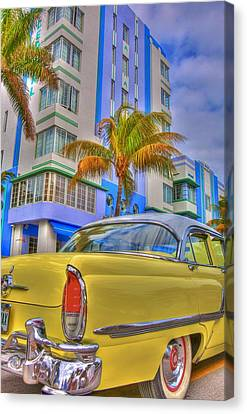 Classic Cars Canvas Print - Ocean Drive by William Wetmore