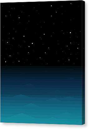 Ocean - Elements - Starry Night Canvas Print by Val Arie