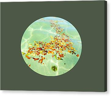 Canvas Print featuring the photograph Ocean Flowers Oval by Linda Hollis