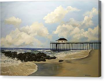 Canvas Print featuring the painting Ocean Grove Fishing Pier by Ken Ahlering