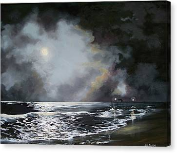 Canvas Print featuring the painting ocean grove moon II by Ken Ahlering