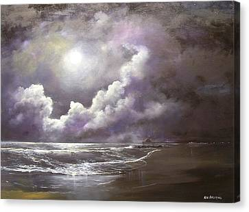 Canvas Print featuring the painting Ocean Grove Moon by Ken Ahlering