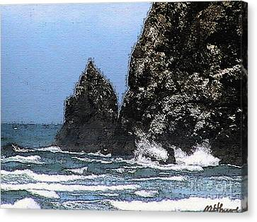 Ocean Haystack Rock Canvas Print by Methune Hively
