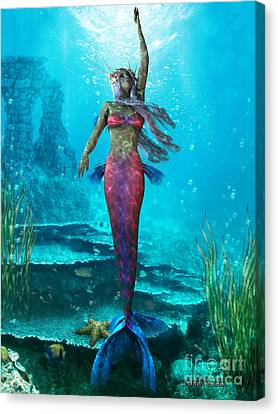 Ocean Mermaid Canvas Print by Corey Ford